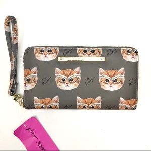 NWT Betsey Johnson Cat Wallet Wristlet Clutch